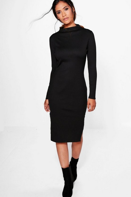 Annie Long Sleeve Ribbed Midi Dress