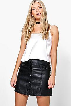 Bahira Zip Detail Leather Look A Line Mini Skirt