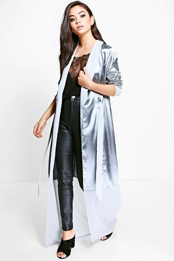 Frances Satin Contrast Panel Belted Duster