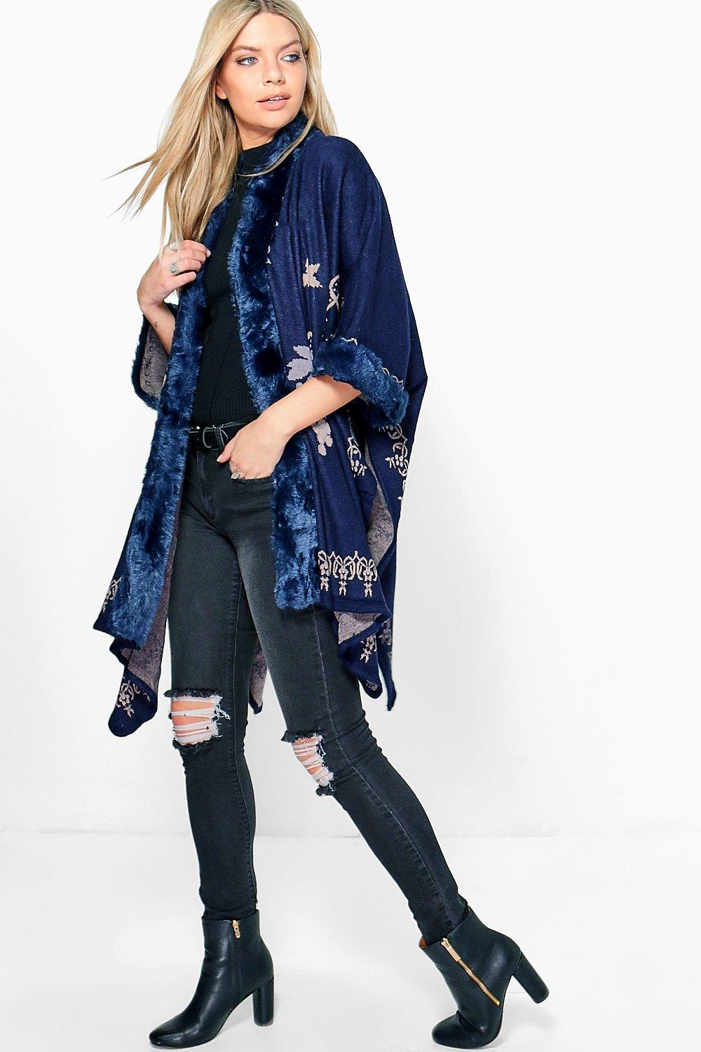 Amelia Faux Fur Floral Pattern Cape
