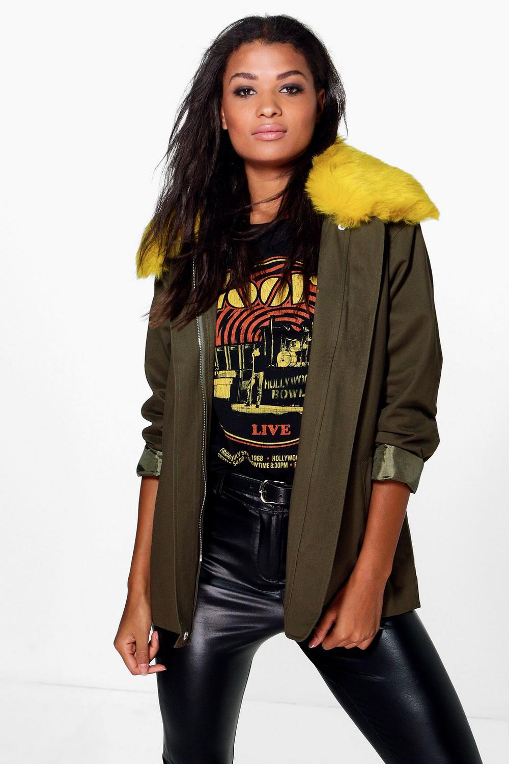 Rose Zip Through Parka With Oversize Faux Fur Collar