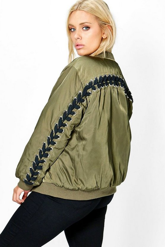 Jordyn Eyelet and Lace Up Bomber Jacket