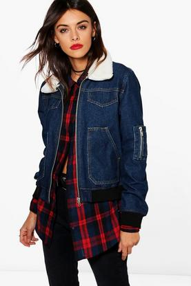 Betty Borg Collar Denim Bomber Jacket