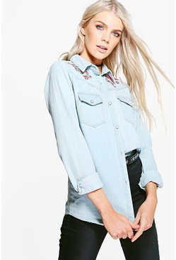 Grace Embroidered Denim Shirt