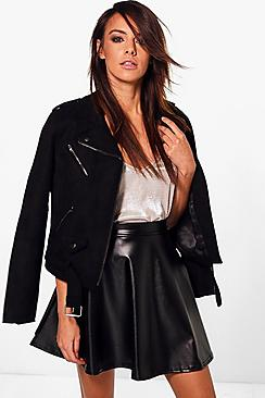 Harlow Leather Look Full Skater Skirt