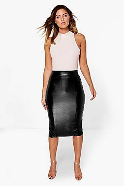 Giselle Leather Look Panelled Midi Skirt