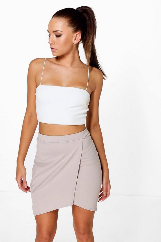 Aura Asymetric Wrap Front Mini Skirt