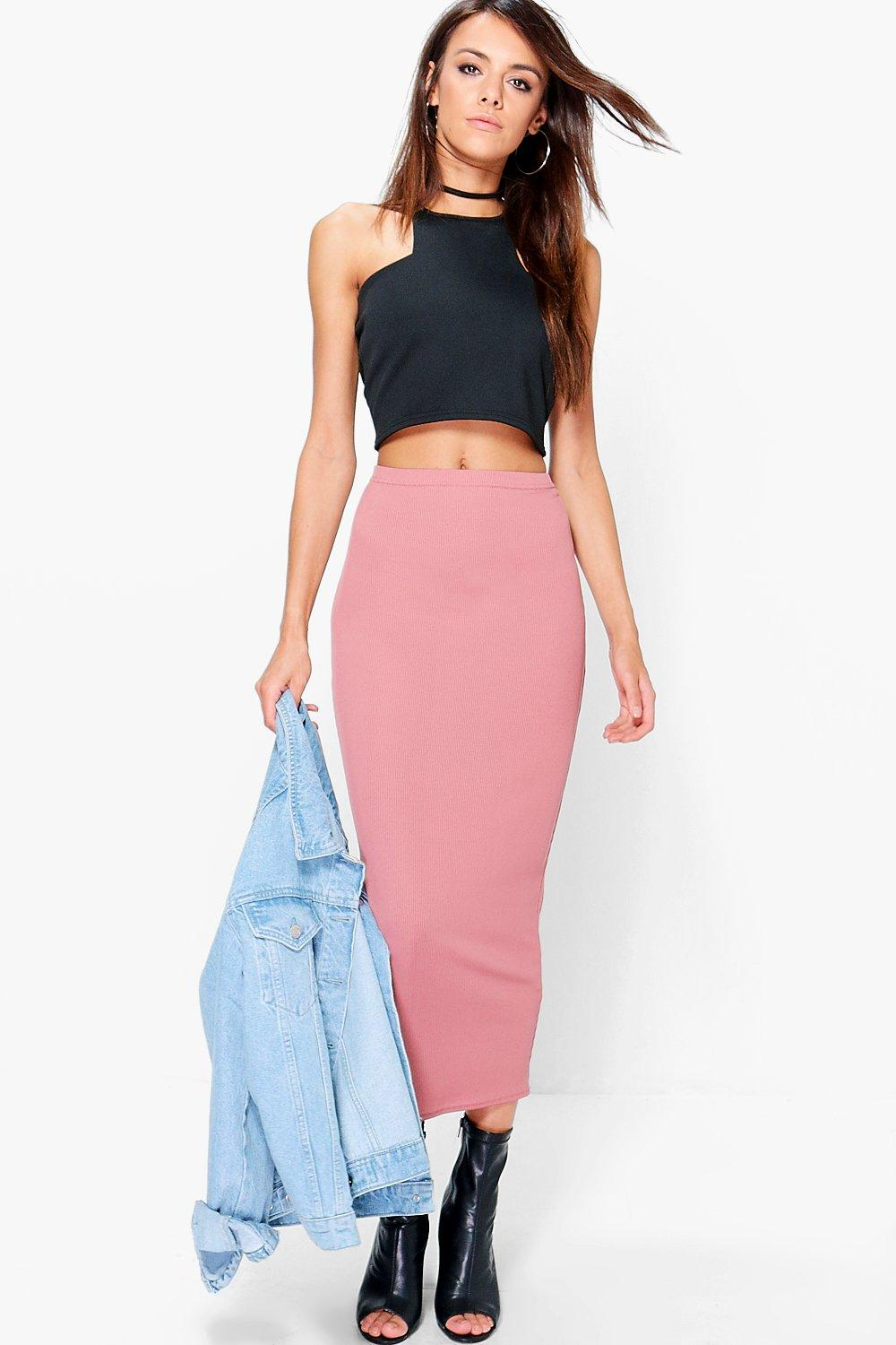 Bee Long Line Ribbed Midi Skirt