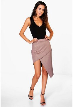 Binx Asymetric Metallic Midi Skirt