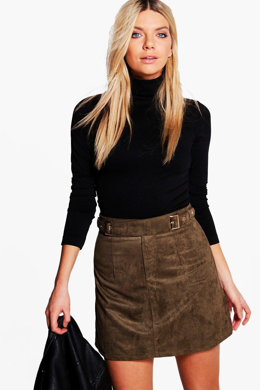 Buckle Side Suedette Mini Skirt  khaki