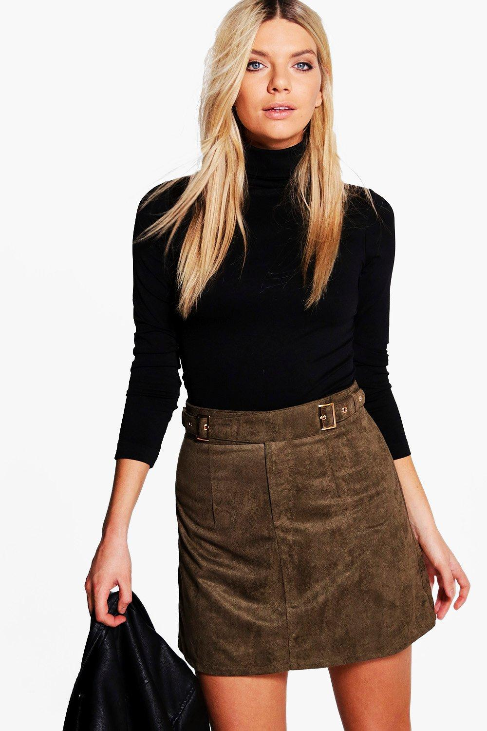 Aviana Buckle Side Suedette Mini Skirt