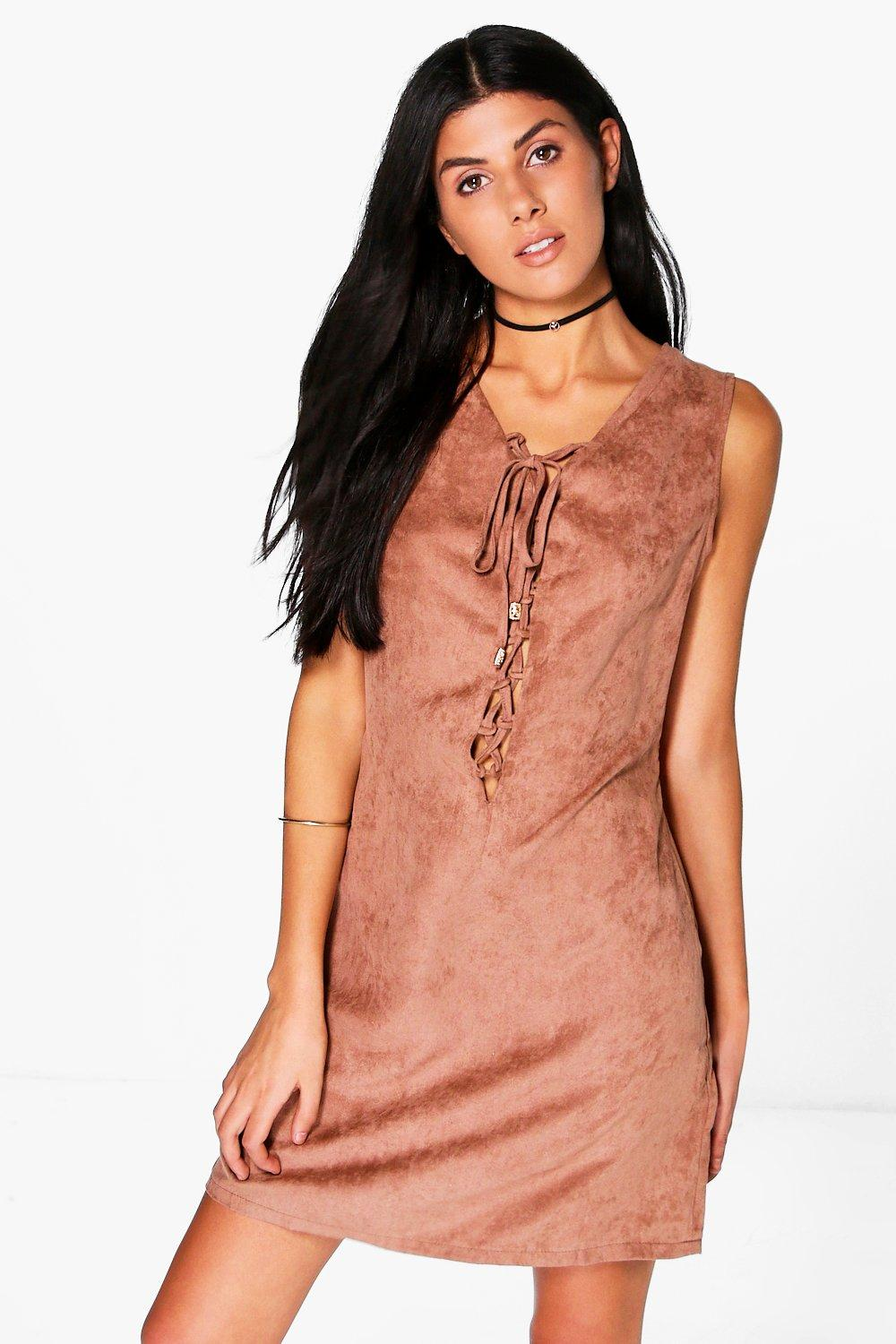 Em Lace Up Cut Out Back Faux Suede Shift Dress