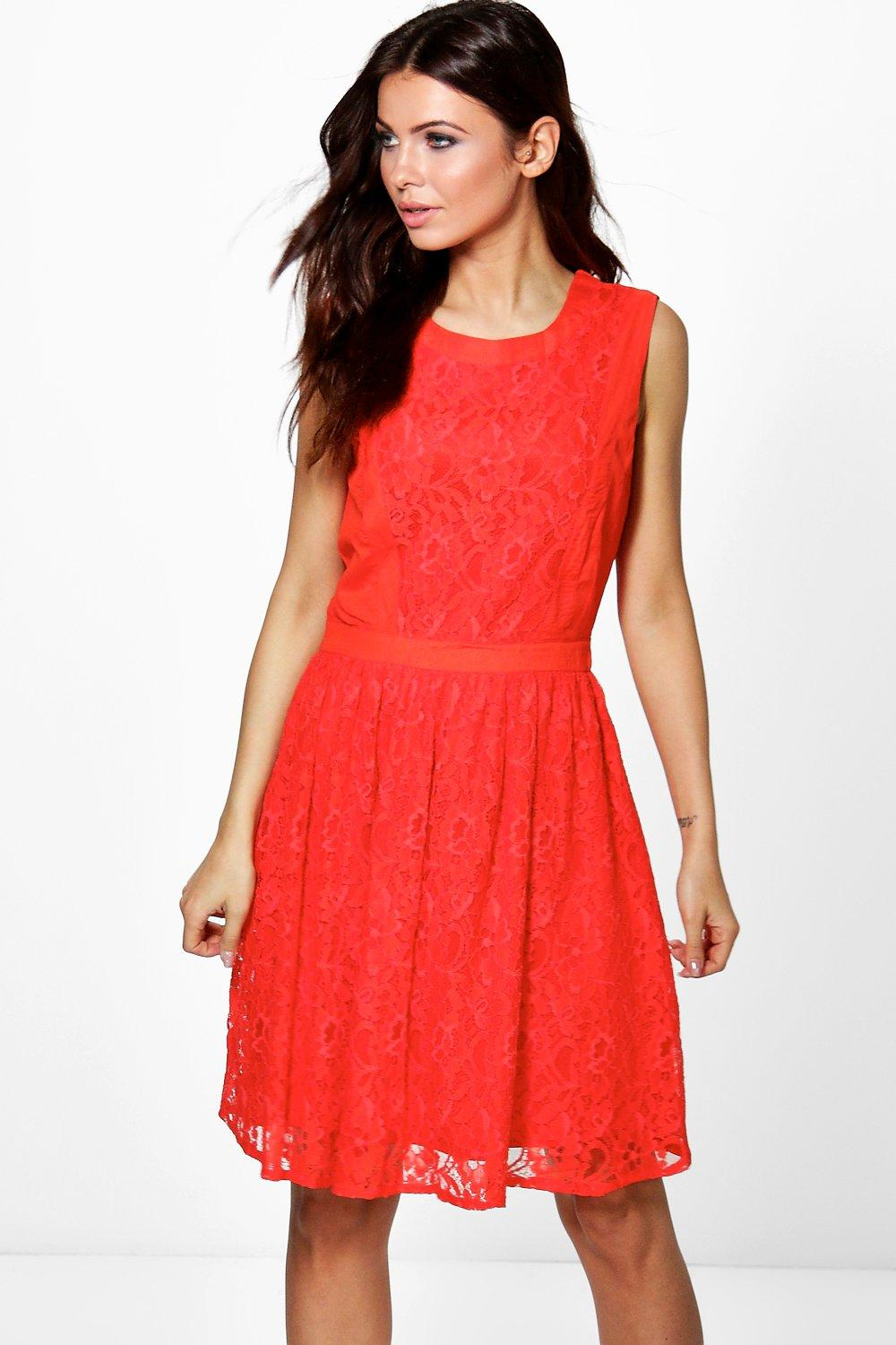 Vivienne Textured Lace Skater Dress