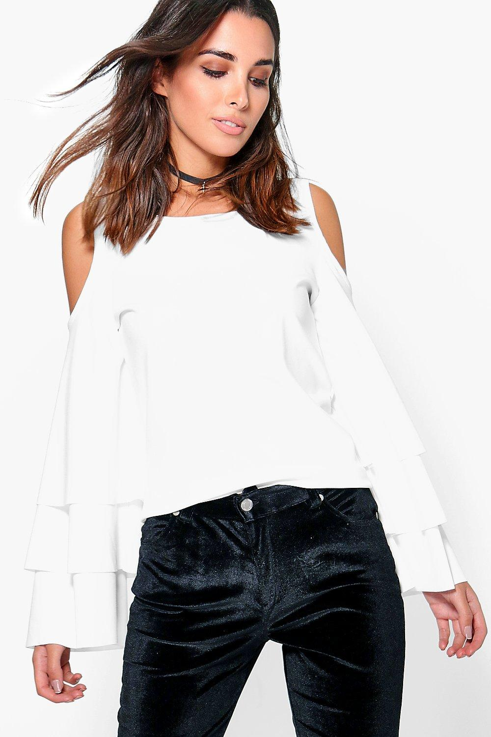 Sophia Cold Shoulder Frill Sleeve Top