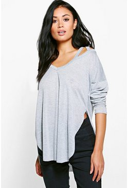 Niamh Metallic Cut Out Neck Long Sleeve Top