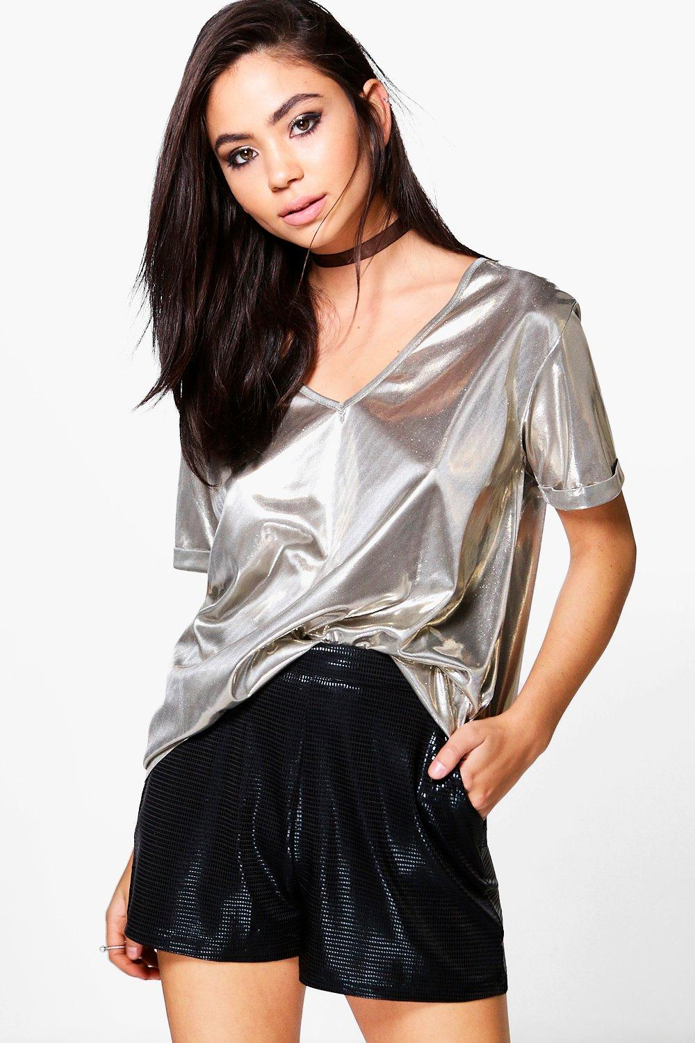 Alicia Metallic Roll Sleeve T-Shirt