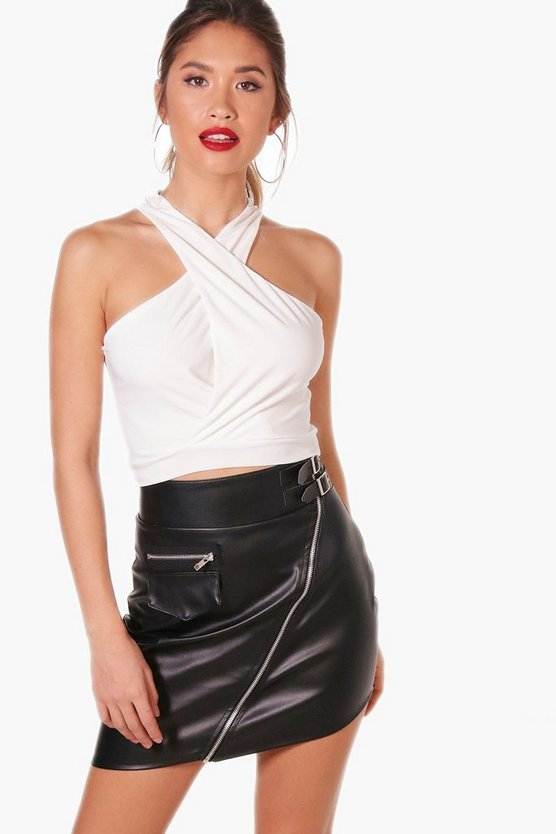 Jessie Wrap Front High Neck Crop Top