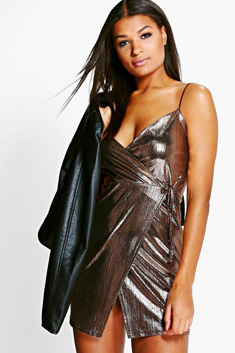 Jen Metallic Strappy Wrap Slip Dress