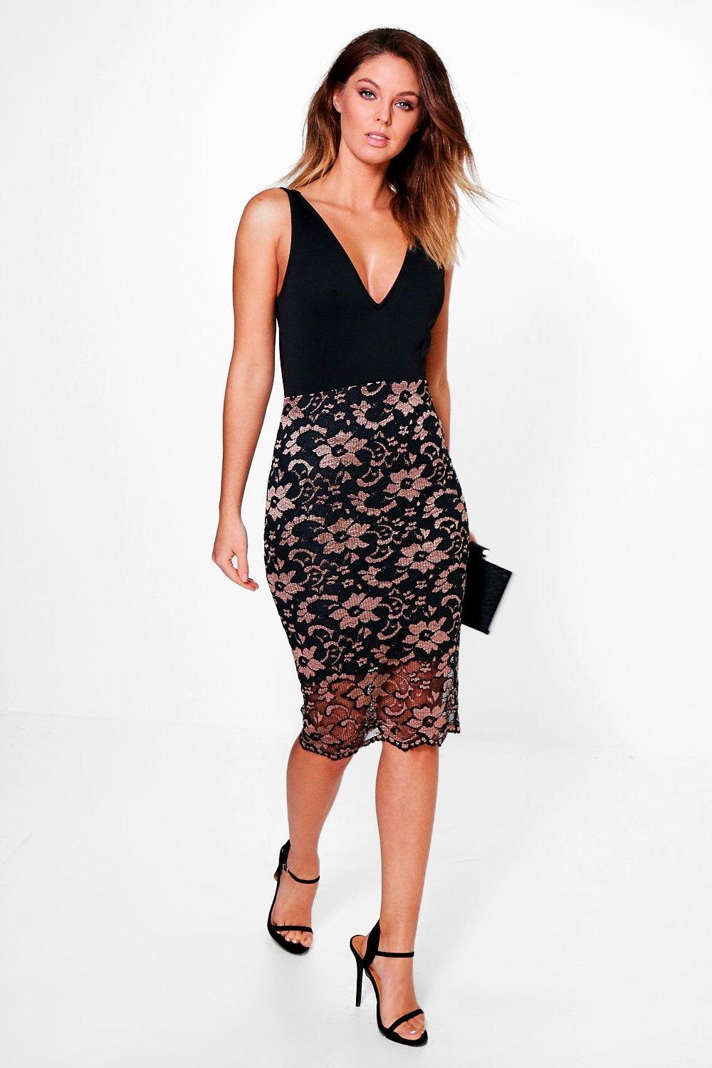 Bella Plunge Metallic Lace Skirt Midi Dress