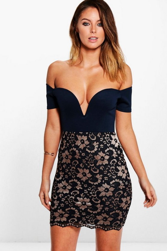 Dariela Off Shoulder Lace Bodycon Dress