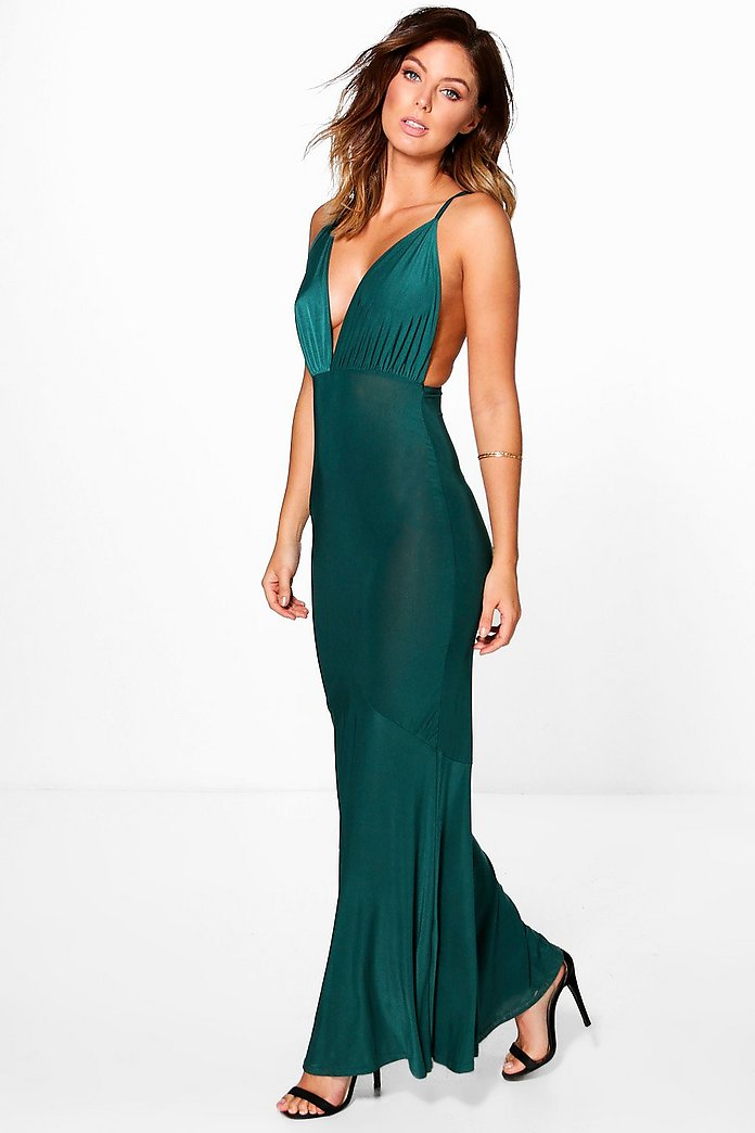 Lottie Slinky Plunge Fishtail Maxi Dress