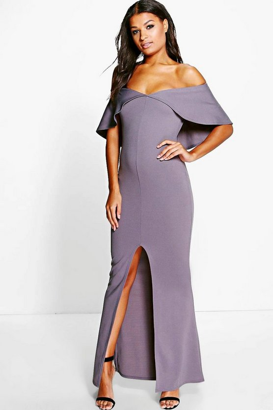 Lois Off Shoulder Deep Fold Maxi Dress