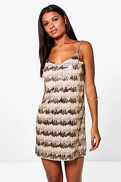 Boutique Neve Sequin Embroidary Slip Dress