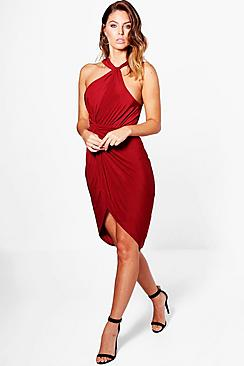 Kyla Slinky High Neck Wrap Midi Dress