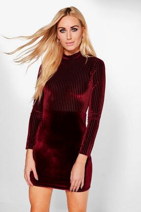 Nala Velvet Rib Mix Bodycon Dress