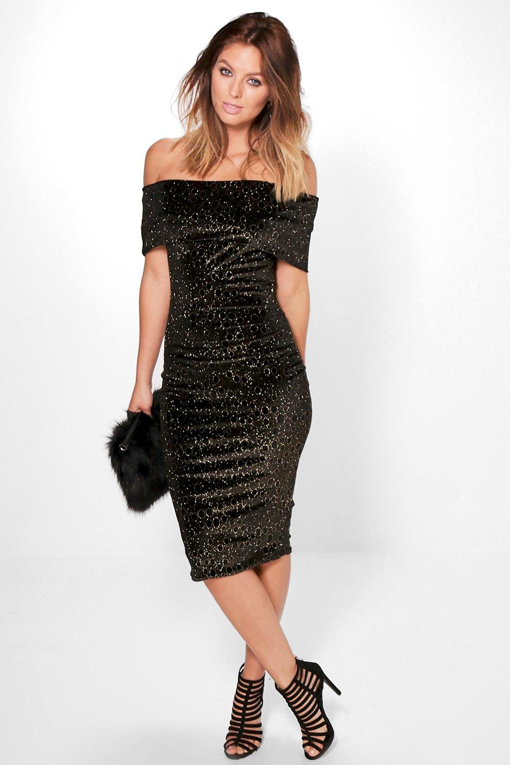 Beitris Off Shoulder Metallic Velvet Midi Dress
