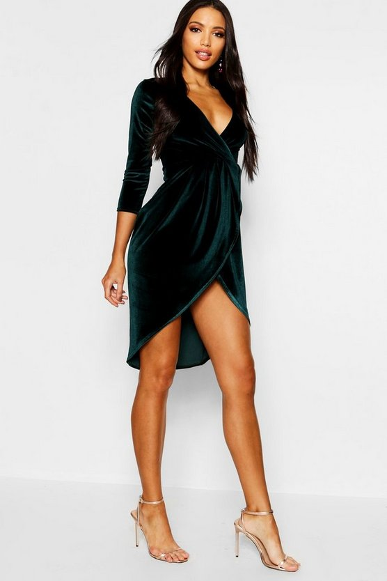 Velvet Wrap Detail Midi Dress