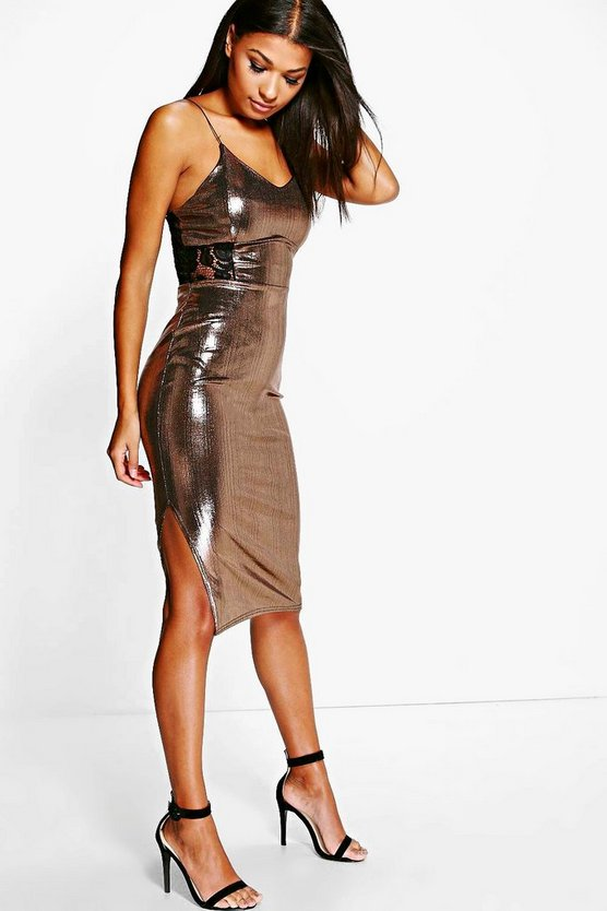 Carolyn Metallic Fine Pleat Midi Dress