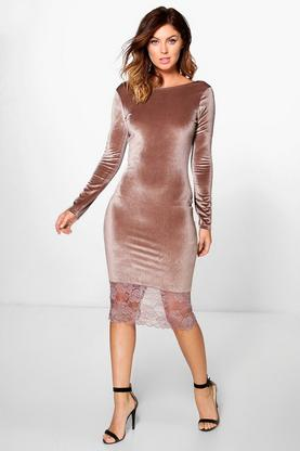 Avianna Lace Hem Velvet Midi Dress