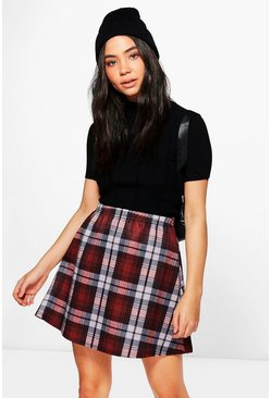 Nova Tonal Check A Line Mini Skirt