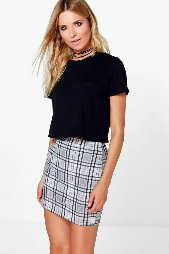 Savannah Monochrome Check Jersey Mini Skirt