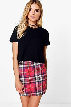 Ruby Tartan Check Jersey Mini Skirt