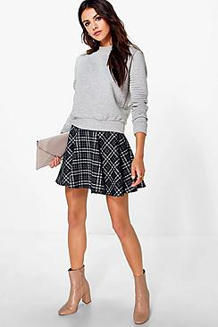Eeva Monochrome Check Full Skater Skirt