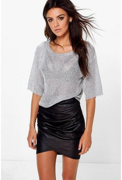 Alia Wet Look Rouched Side Mini Skirt