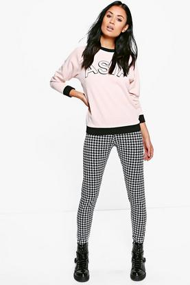 Willow Monochrome Dogtooth Print Leggings