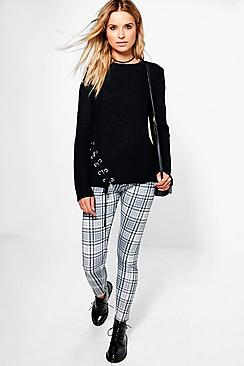 Zahra Monochrome Check Print Leggings