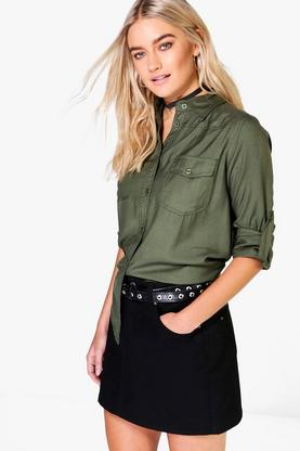 Gracie Roll Sleeve Plain Two Pocket Shirt