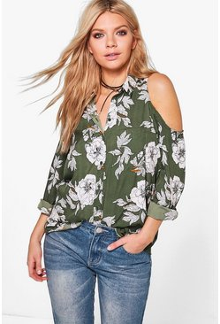 Pearl Printed Long Sleeve Cold Shoulder Top