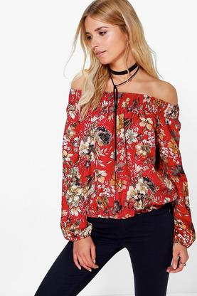 Whitney Floral Printed Gypsy Off The Shoulder Top