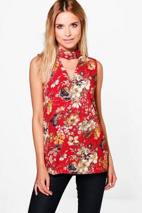 Saffron Floral Choker Neck Sleeveless Tunic