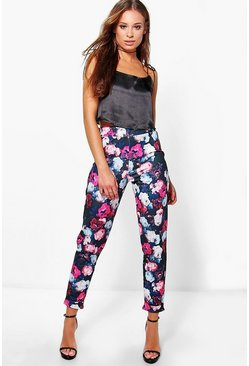 Amina Tonal Floral Stretch Skinny Trousers