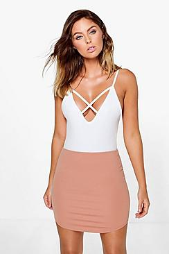 Saffy Curved Hem Scuba Mini Skirt