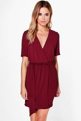 Ruby Woven Cross Over Belted Dress