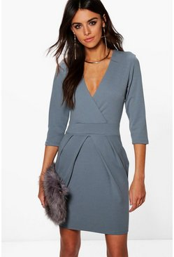 Erin Wrap Over Tailored Dress
