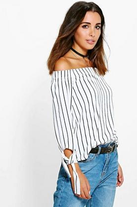 Ivy Tie Sleeve Striped Bardot Top