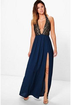 Selma Metallic Lace Deep Plunge Maxi Dress